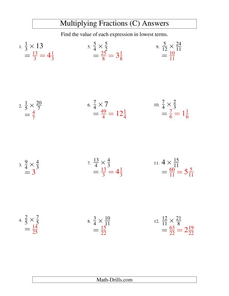 The Multiplying And Simplifying Fractions With Some Whole Numbers C Math Workshee Simplifying Fractions Adding And Subtracting Fractions Fractions Worksheets
