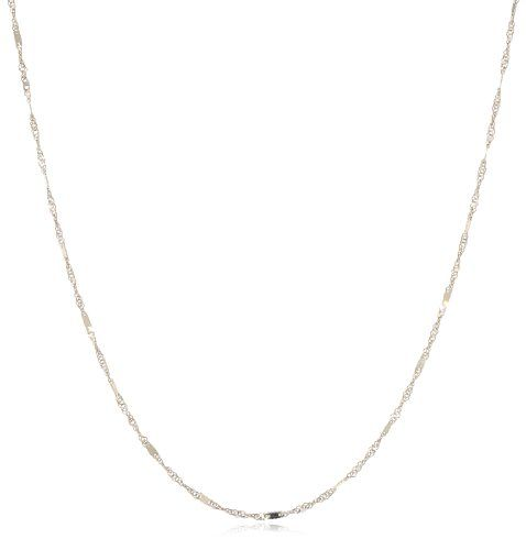 """Italian 14k Yellow Gold 1mm Twisted Bar Chain Necklace, 18"""""""