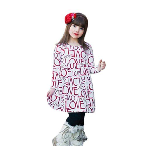 7e303bc18de4 Hongxin Cute Toddler Baby Kids Girls Letter Print Dress Fashion Long Sleeve  Clothes Outfits Princess Dresses Skirt