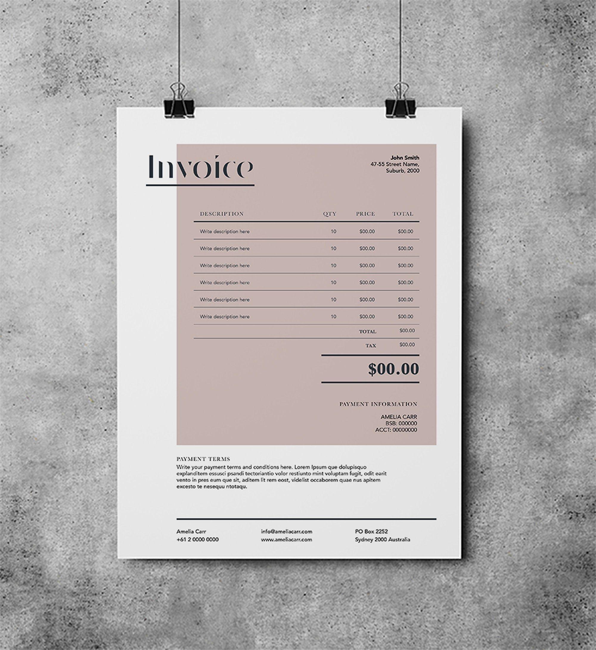 The Amelia Carr Invoice Template Modern Invoice Template Design In 2021 Invoice Design Template Invoice Design Invoice Template