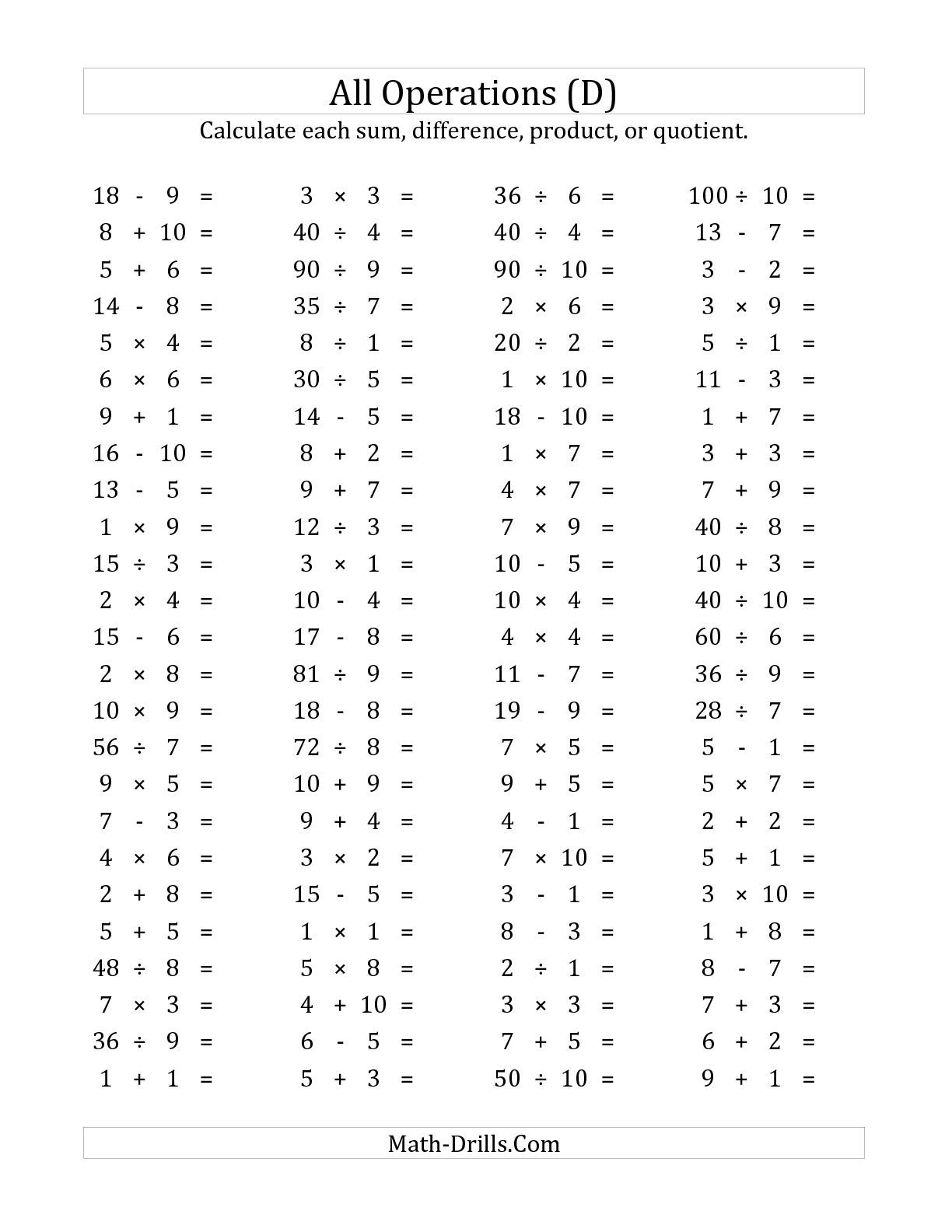 The 100 Horizontal Mixed Operations Questions Facts 1 To 10 D Math Fact Worksheets Math Worksheets Free Math Worksheets