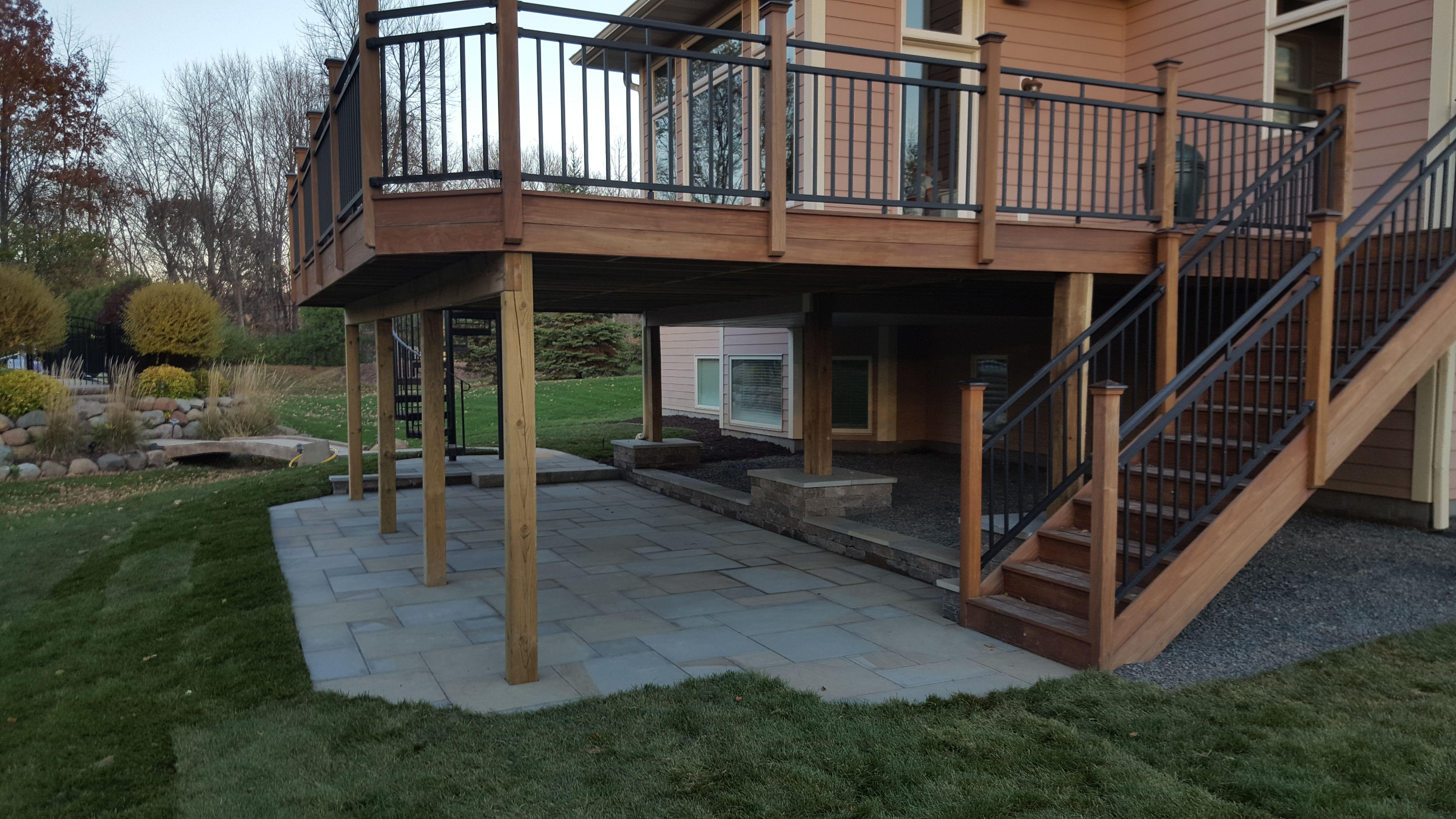 Ipe Deck Stairs And Paver Patio Paver Patio Patio Under Decks Patio