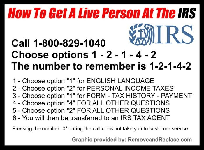 Irs 1800 Phone Numbers How To Speak With A Live Irs Person Fast