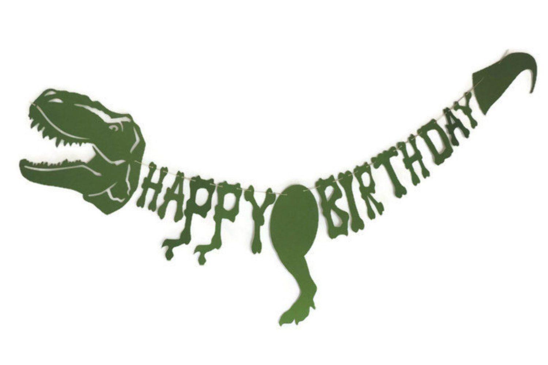 Dinosaur Happy Birthday Banner T Rex Dinosaur Themed Birthday Dino Birthday Dinosaur Birthday Banner In 2020 Birthday Banner Dino Birthday Dinosaur Birthday