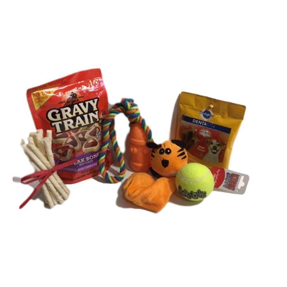 Dog gifts set featuring kong dog toy dental sticks