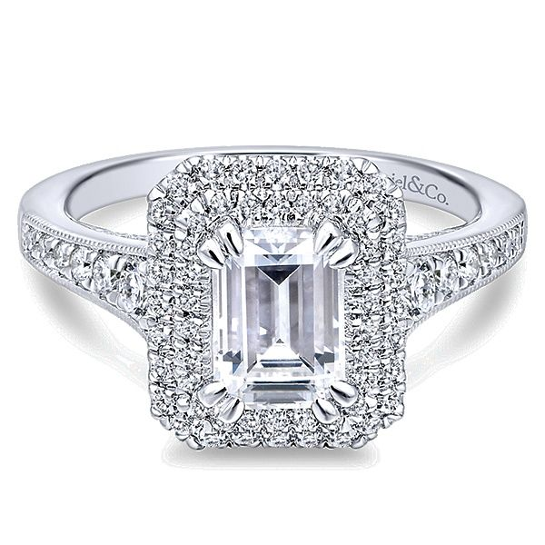 Gabriel Jasmine 14k White Gold Emerald Cut Double Halo