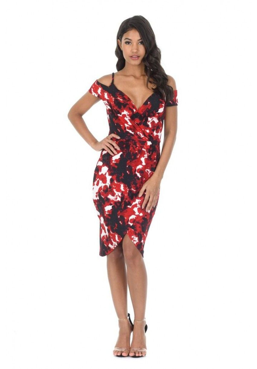 4fcad8c04e6 Women s Red Printed Wrap Dress - AX Paris USA-Fashion Dresses