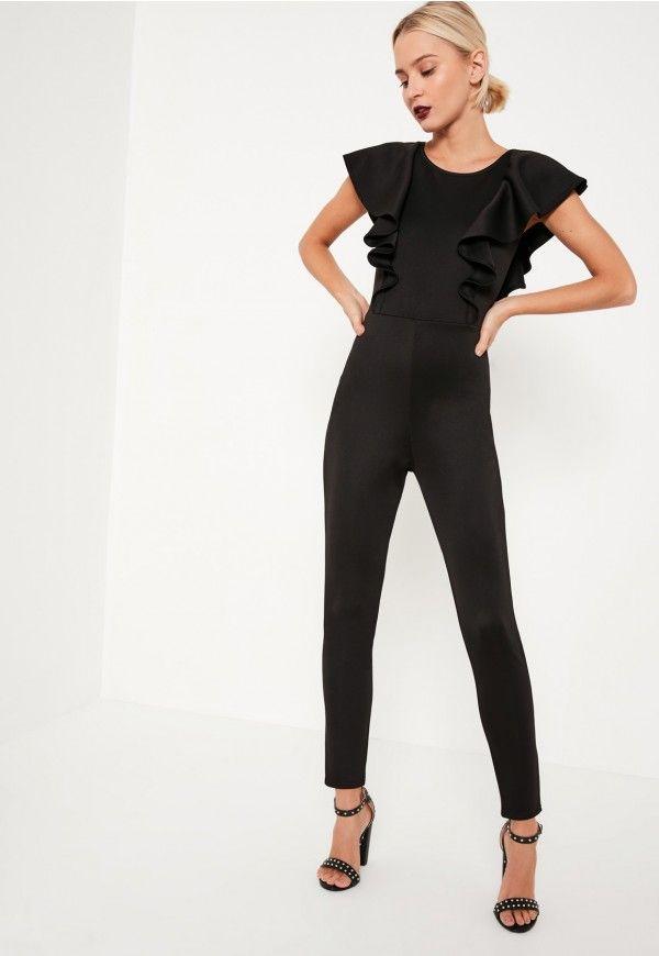 Open Sleeve Jumpsuit Frill Pinterest Back Black Kombinezoni 7F8BqEWwn5