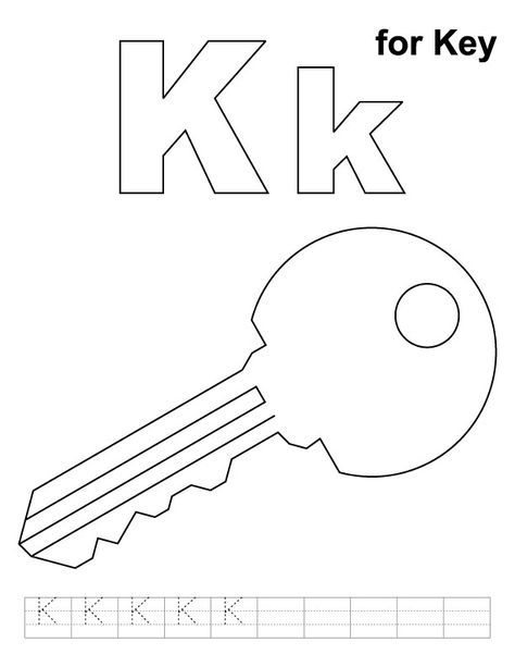 K For Key Coloring Page With Handwriting Practice Download Free K For Key Coloring Page Alphabet Coloring Pages Abc Coloring Pages Kids Handwriting Practice