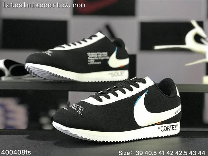 sports shoes d746b 4176b 2018 Off White x Nike Cortez For Sale Womens Sneakers Black White UK