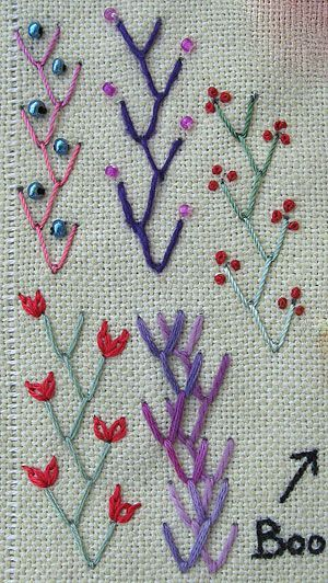 embroidery - feather stitch