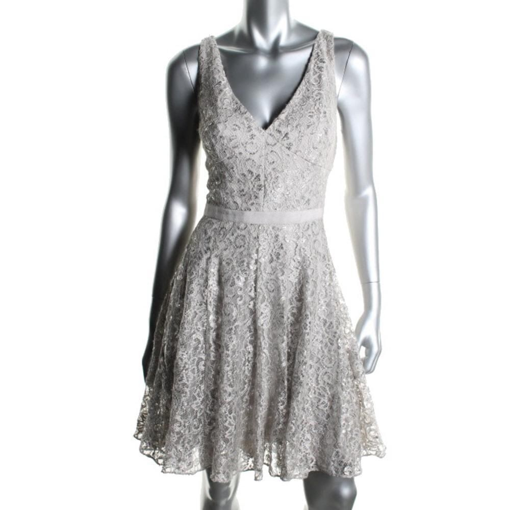 ADRIANNA PAPELL NEW Silver Lace Metallic Party Cocktail Dress 14 ...