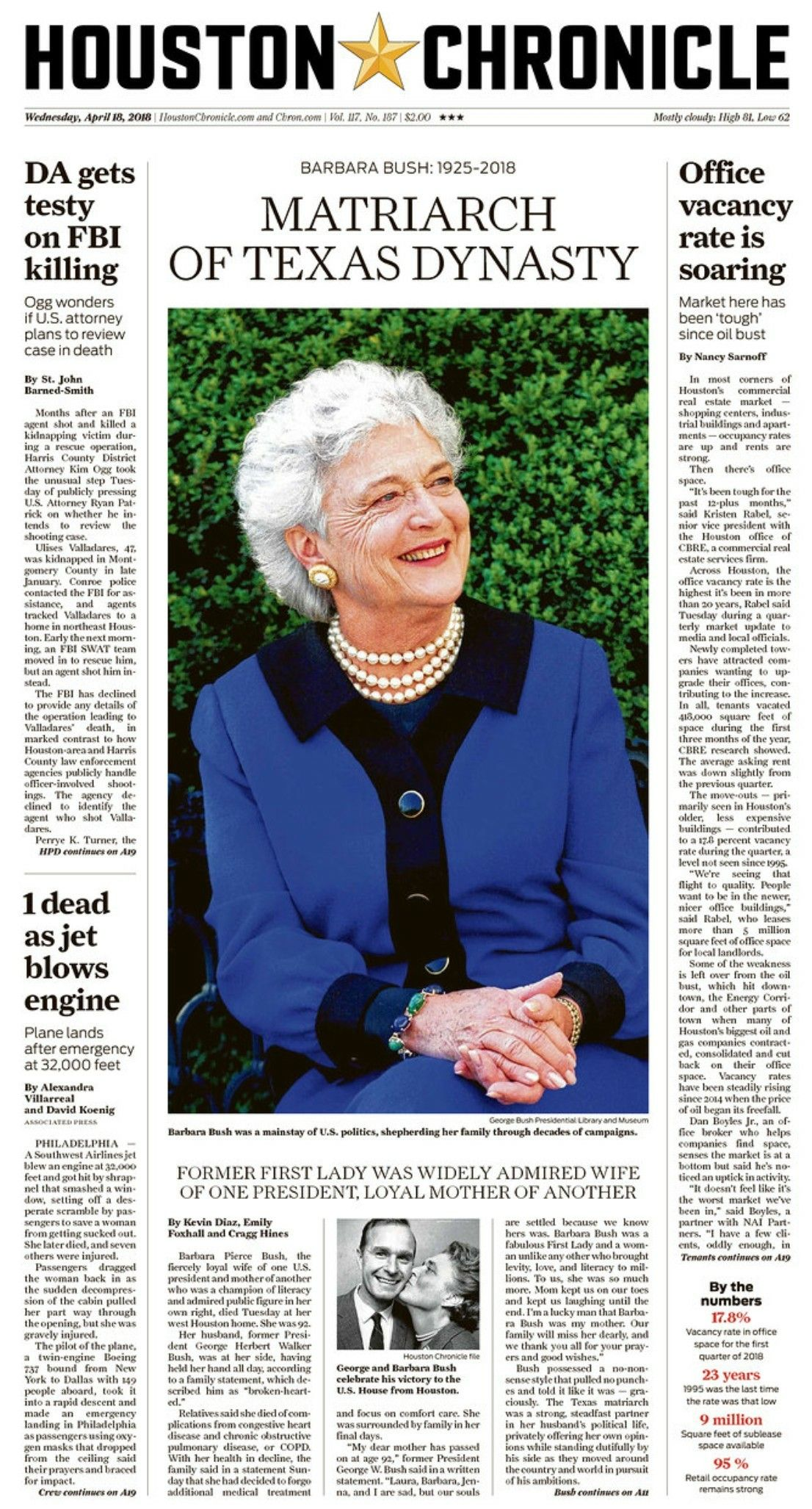 Former First-Lady Barbara Bush dies at age 92. Barbara Bush was married to former President George H.W. Bush. She was also the mother of former President George W. Bush and Governor Jeb Bush. (April 17, 2018)
