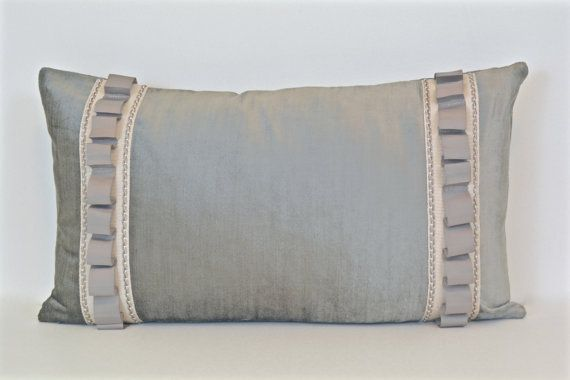 Grey Velvet Pillow Cover With Trim By ThereseMarieDesigns On Etsy Custom Decorative Trim For Pillows