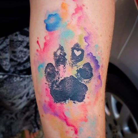 Black Paw Print By With Watercolor Background Tattoos Dog