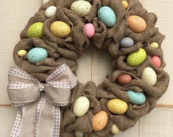 33++ Easter eggs with burlap bow decorative 16 spring easter wreath inspirations