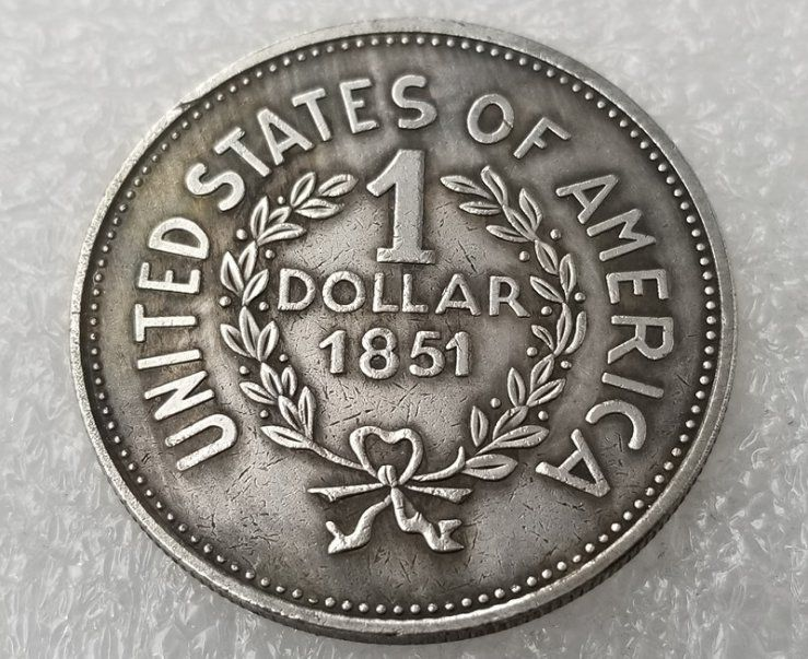 1 Pcs Us 1851 Indian Head One Dollar Copy Coin One Dollar Dollar Indian Head