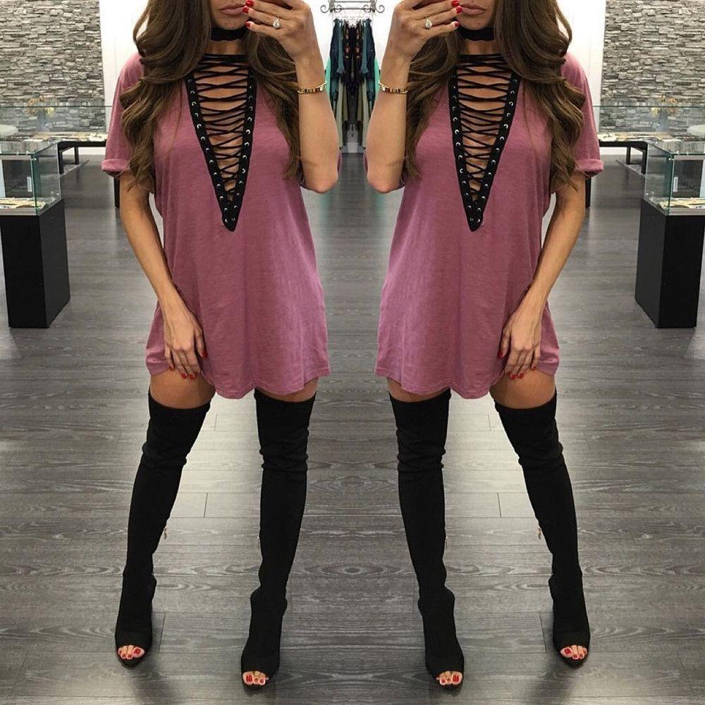 ce6e835f4b2d Hollow Out V Neck Short Sleeve Sexy Night Club Loose Short Dress ...