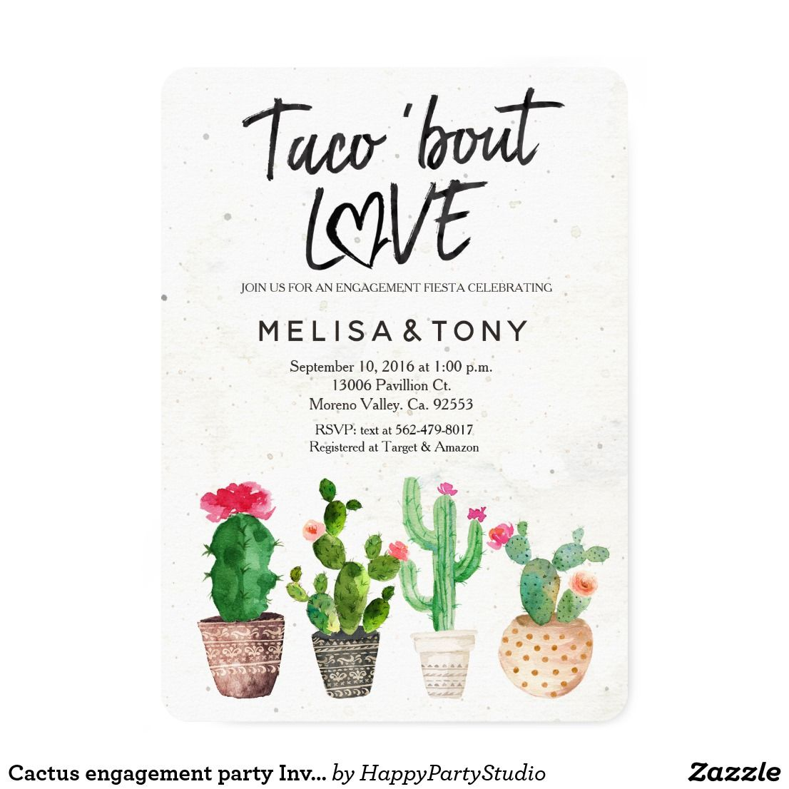 Cactus engagement party Invitation Taco Bout Love | Zazzle.com #engagementparty