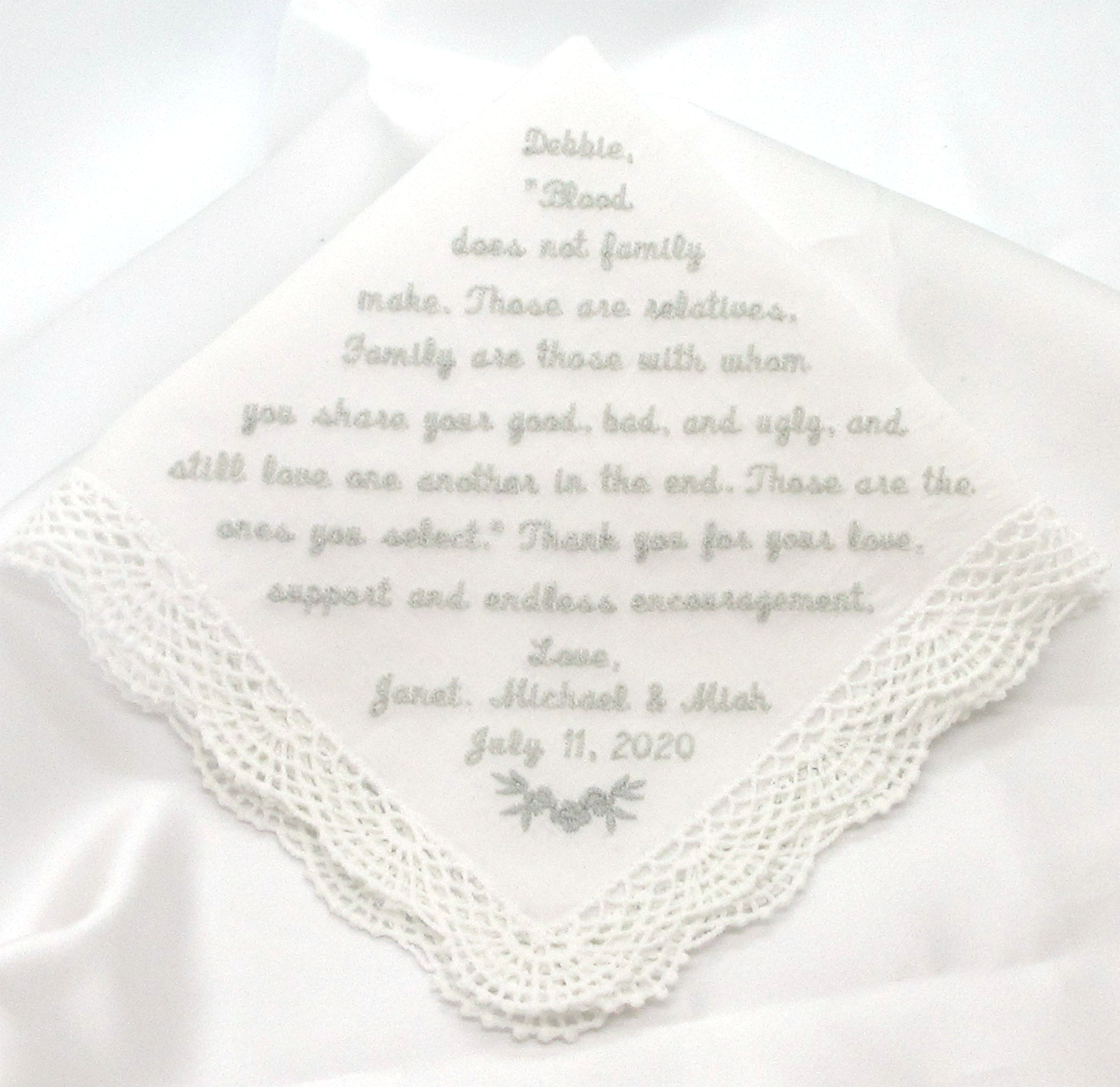 Wedding Handkerchief With A Personal Message Mother Of The Etsy In 2020 Wedding Handkerchief Wedding Keepsakes The Wedding Date