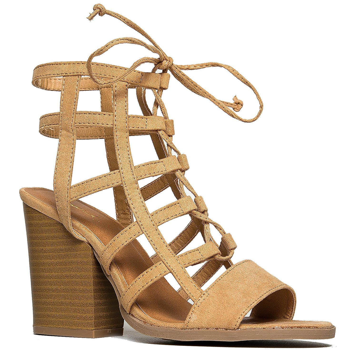 0b5a1e750a39 Cage Lace Up Wooden Stacked Heel Sandal    Startling review available here    Lace up sandals