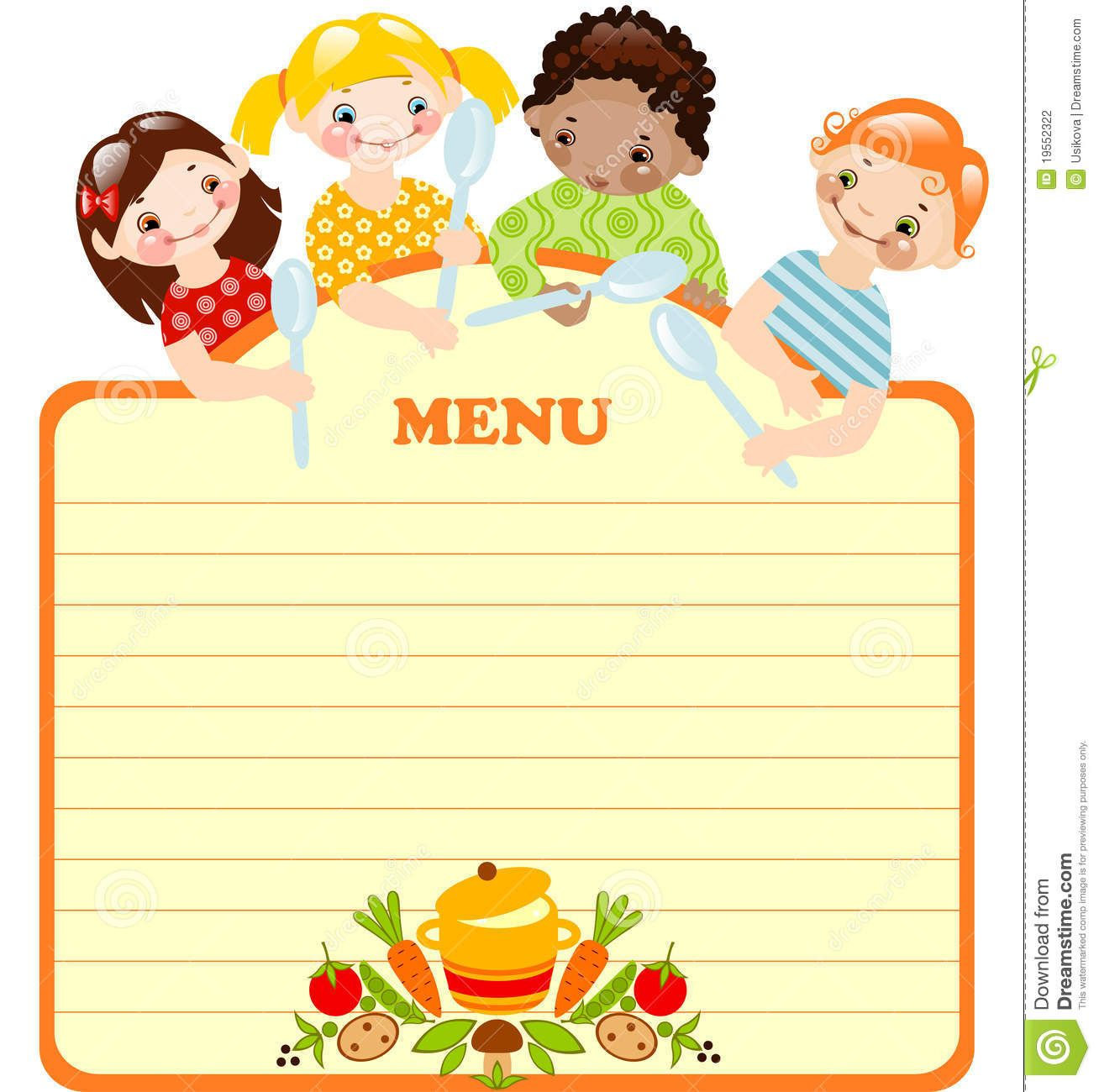 Blank kids menu template invitation templates for Free printable menu templates for kids