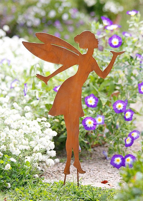 Gartenstecker elfe pusteblume garten pinterest for Gartendeko blechfiguren