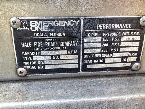 FIRE ENGINE data plate
