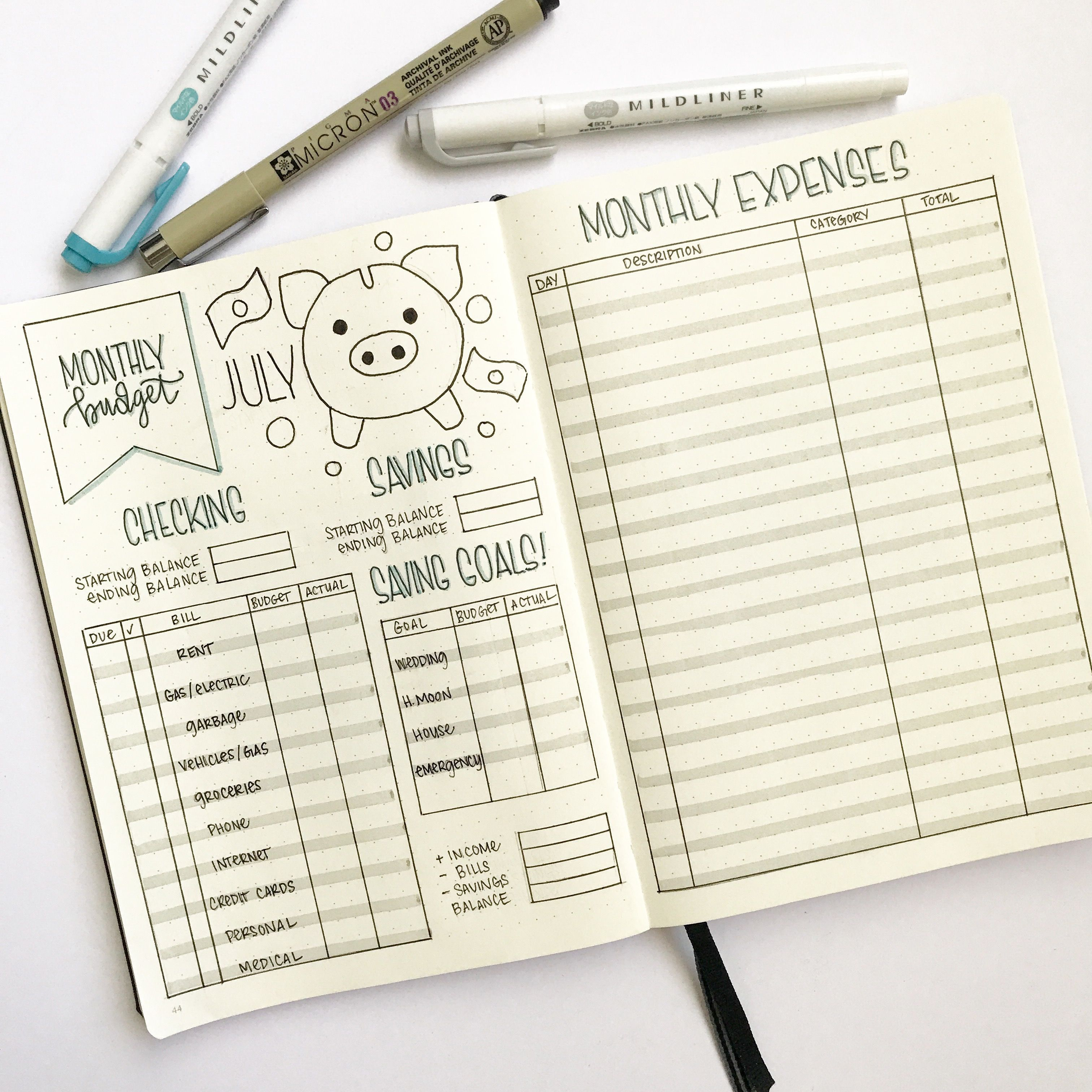 Bullet Journal Budget And Finance Tracker By