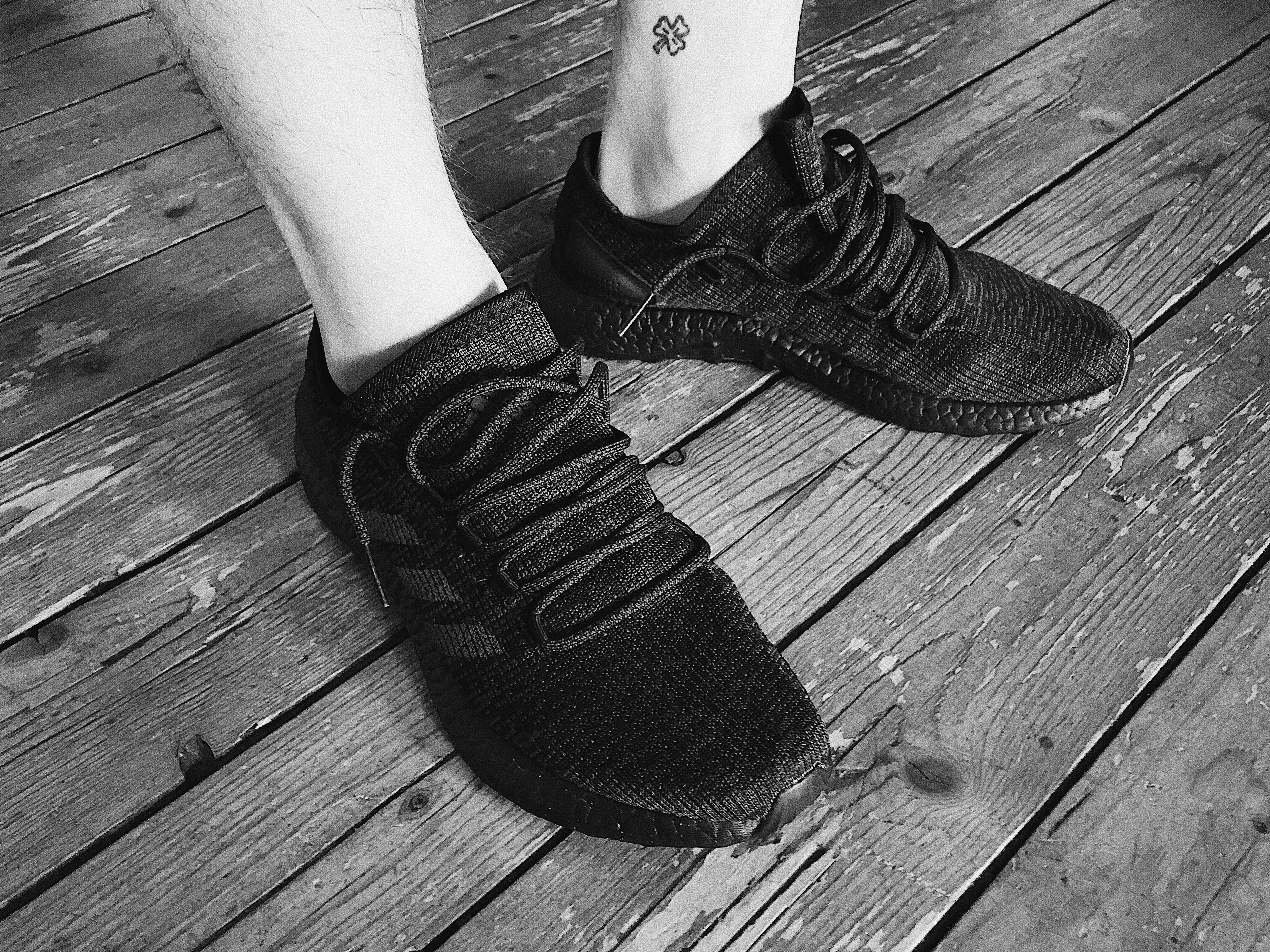 Adidas Pure Boost LTD 2017 Triple Black on feet above