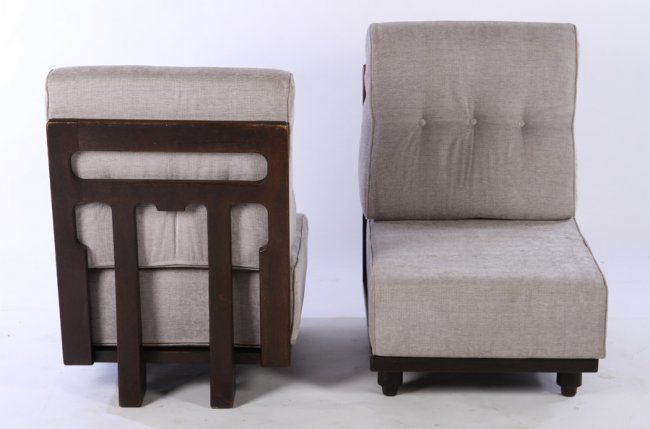 PAIR OAK SLIPPER CHAIRS BY GUILLERME ET CHAMBRON : Lot 437