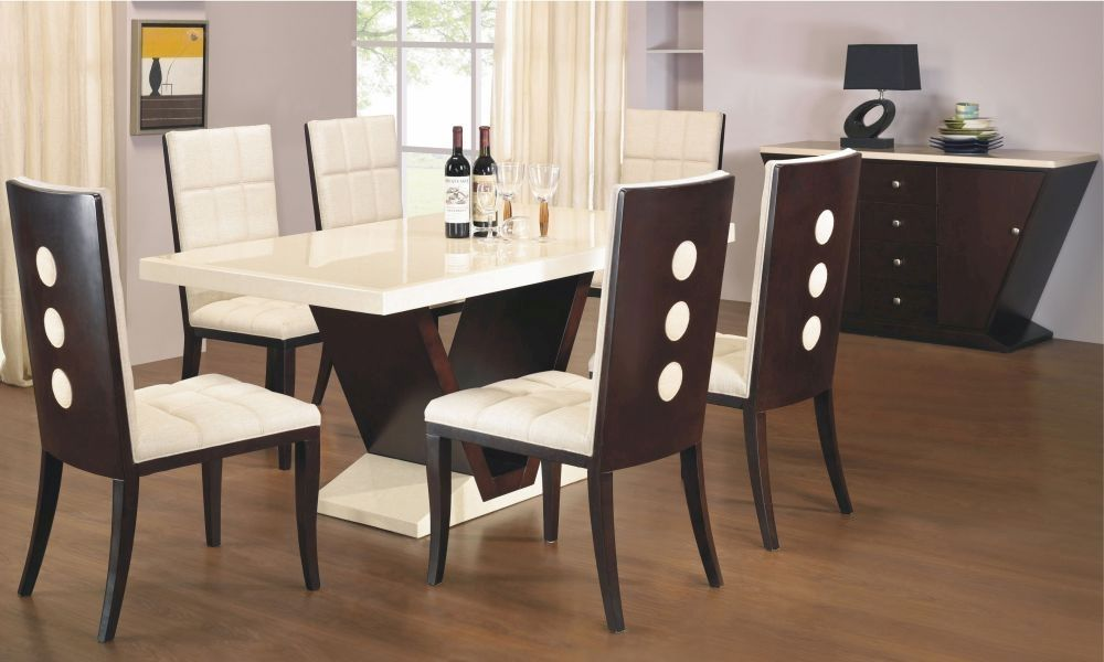 Exclusive Grecian Marble Top Dining Set With 6 Chairs Dining