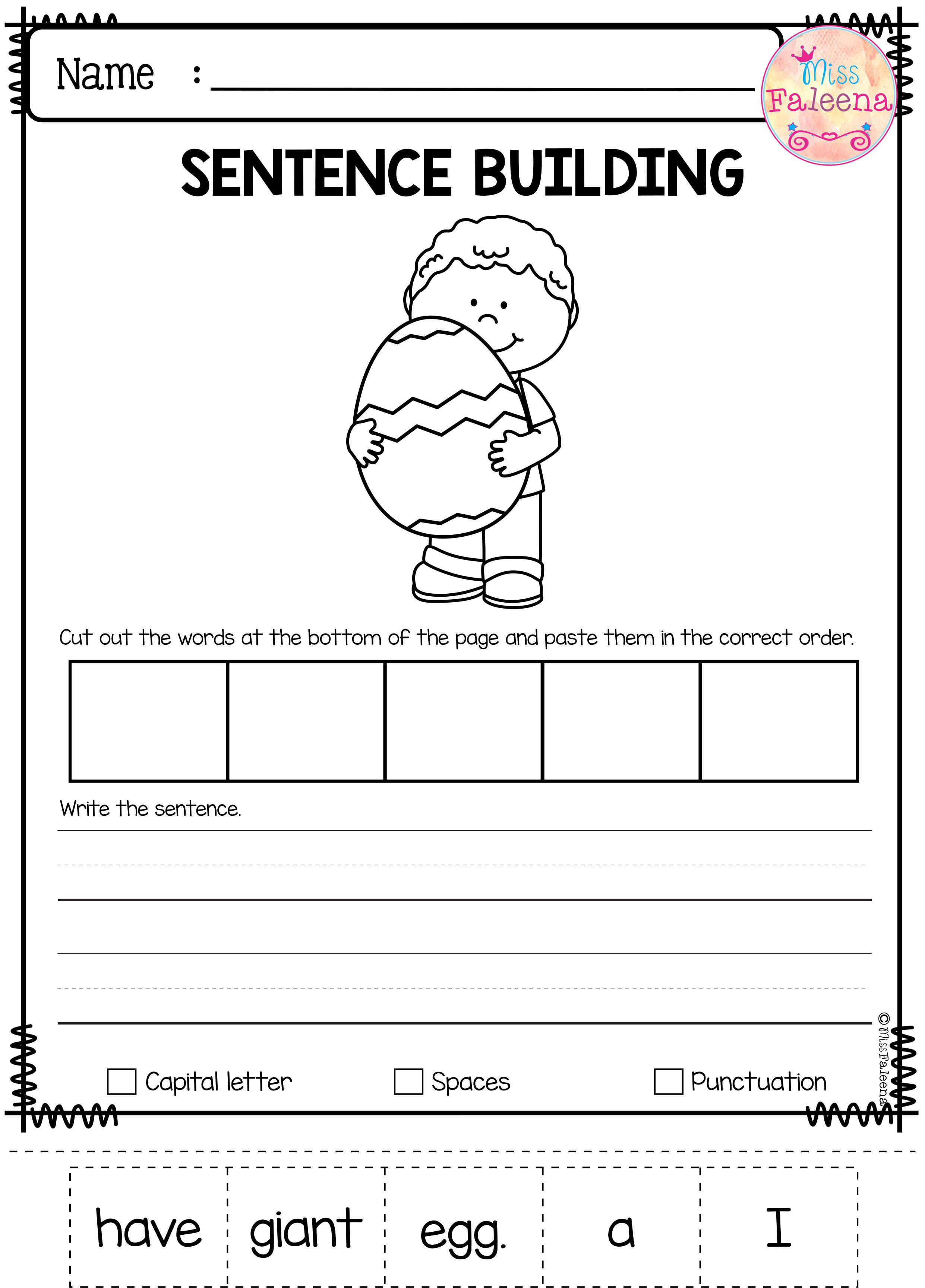 April Sentence Building Has 30 Pages Of Sentence Building Worksheets This Product Will Teach