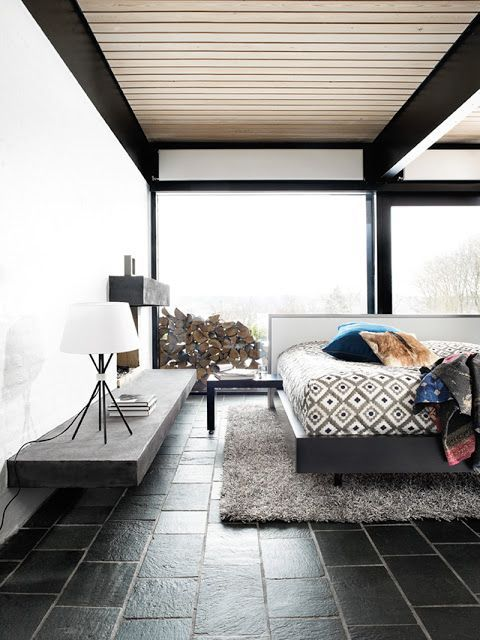 Great Mid Century Modern Bedroom With Cool Black Tile Floors