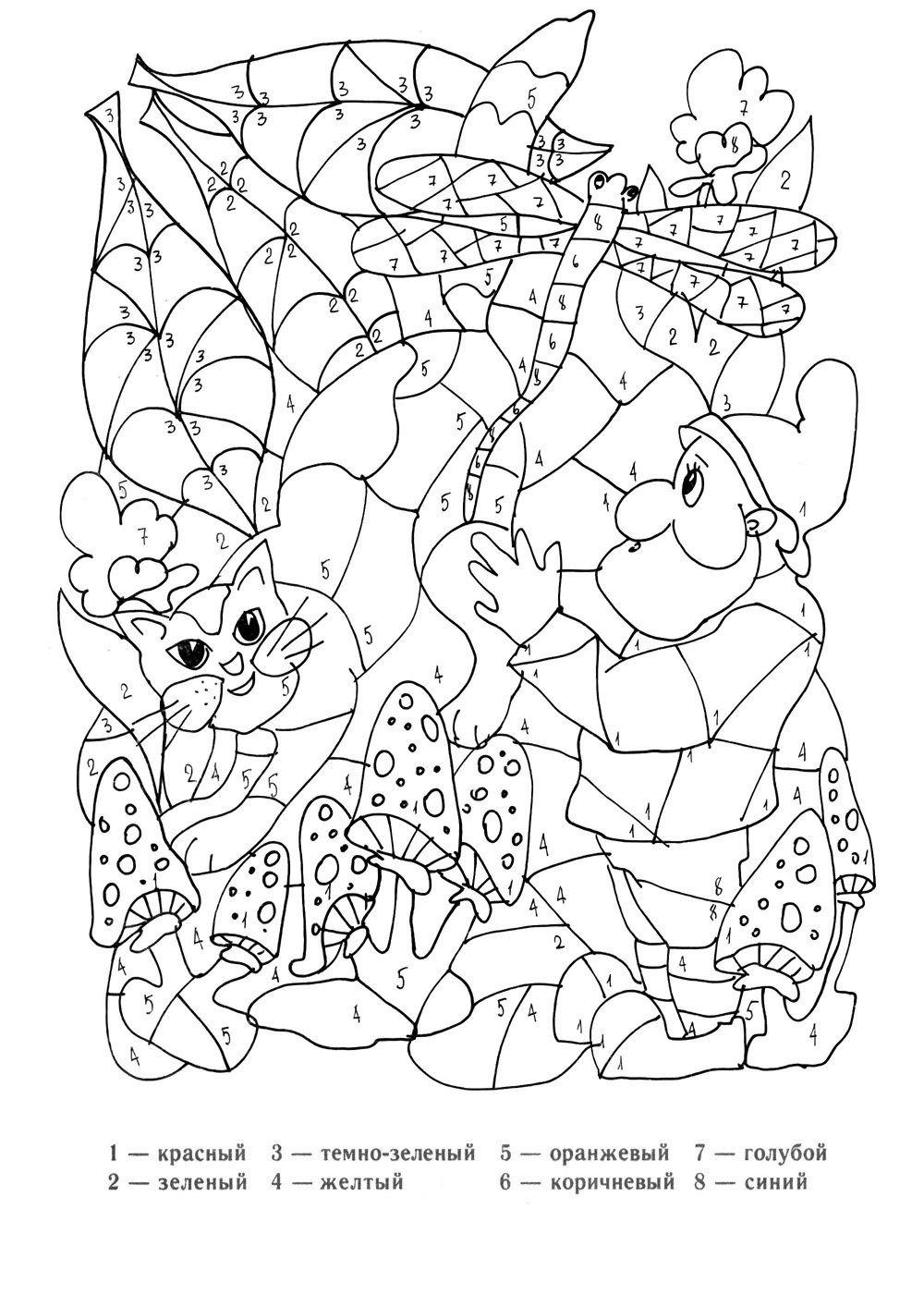 Раскраска для детей по цифрам онлайн