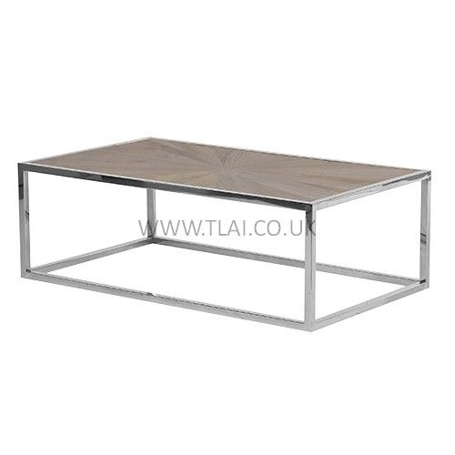 Good Wooden Coffee Table With Polished Chrome Legs
