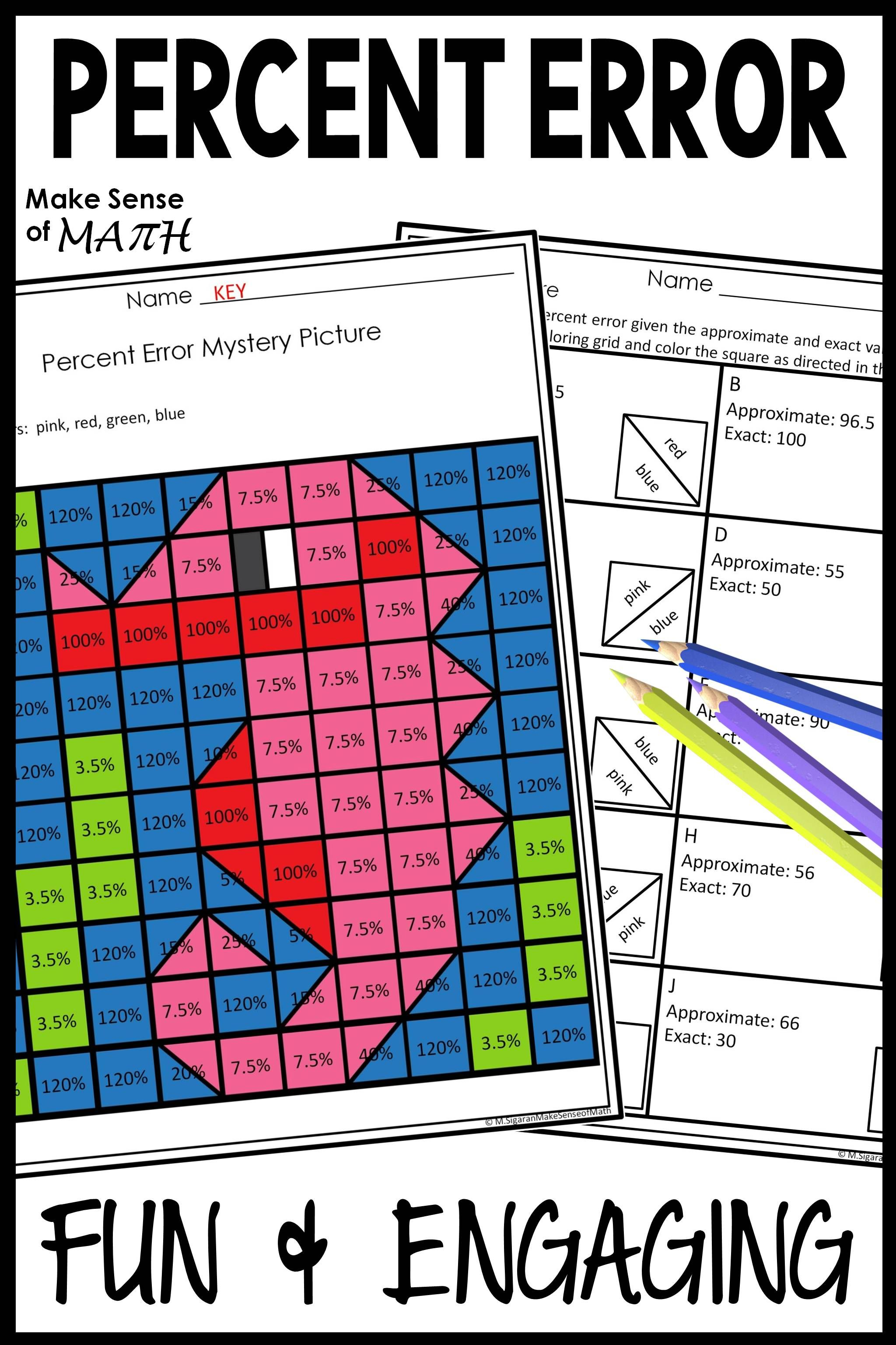 Percent Error Activity Worksheet Seventh Grade Math Math Lesson Plans Sixth Grade Math