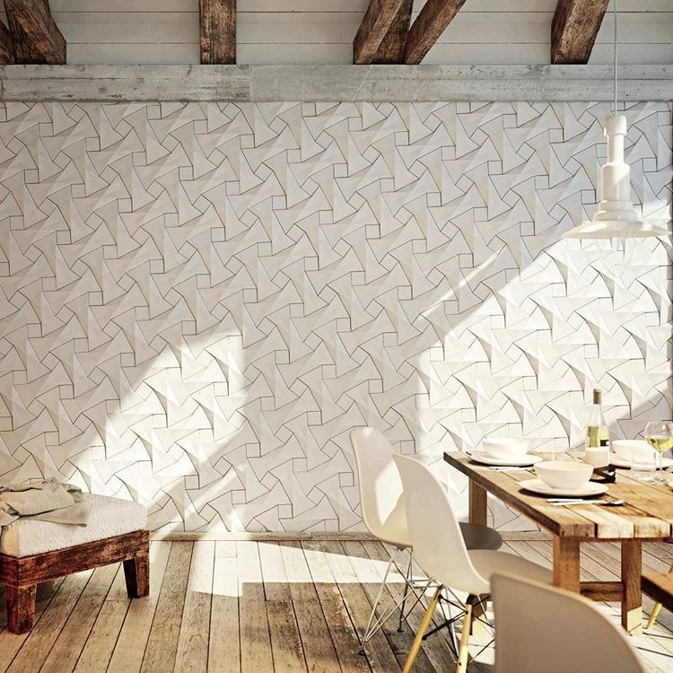 Three Dimensional Wall Tiles Provide A Modern Solution To Designing A Feature Wall This Fresh Light Space Uses Kazaco Beige Interior Interior Light And Space