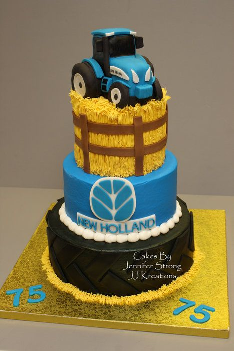 New Holland Tractor By Jenstrong Cakesdecor Com Cake Decorating Website Tractor Birthday Cakes Tractor Cake Farm Cake