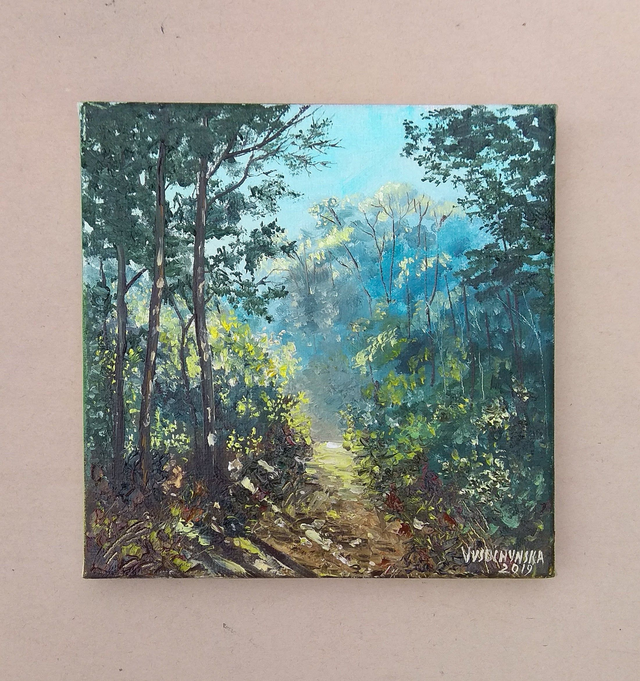 Forest Landscape Oil Painting Original Painting Small Painting On Canvas Art Work Green Wood Miniature Nature Ti Art Painting Oil Oil Pastel Paintings Painting