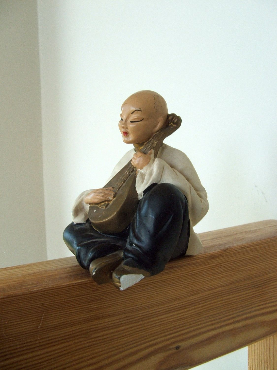 Vintage  Chalkware Asian Musician Figurine by lookonmytreasures on Etsy