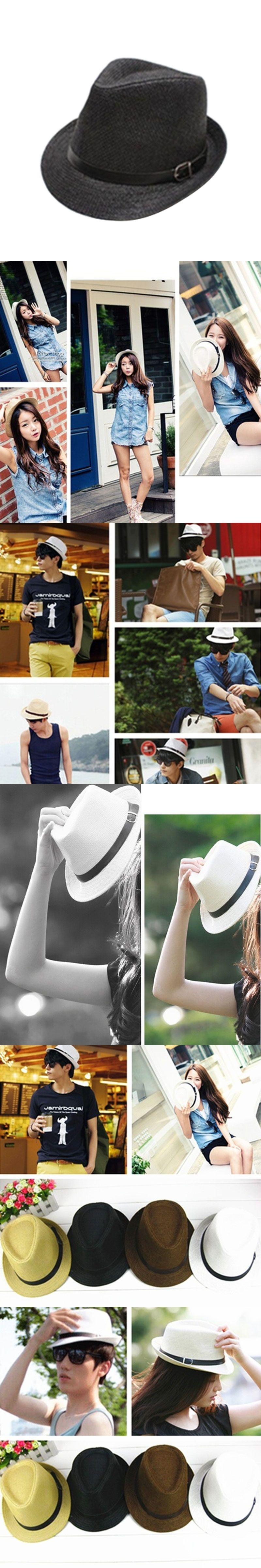 7aa73211baeec Stylish Hat Summer Straw Hat Cap Topee Fedora Trilby Panama Hat Cap Jazz Hat