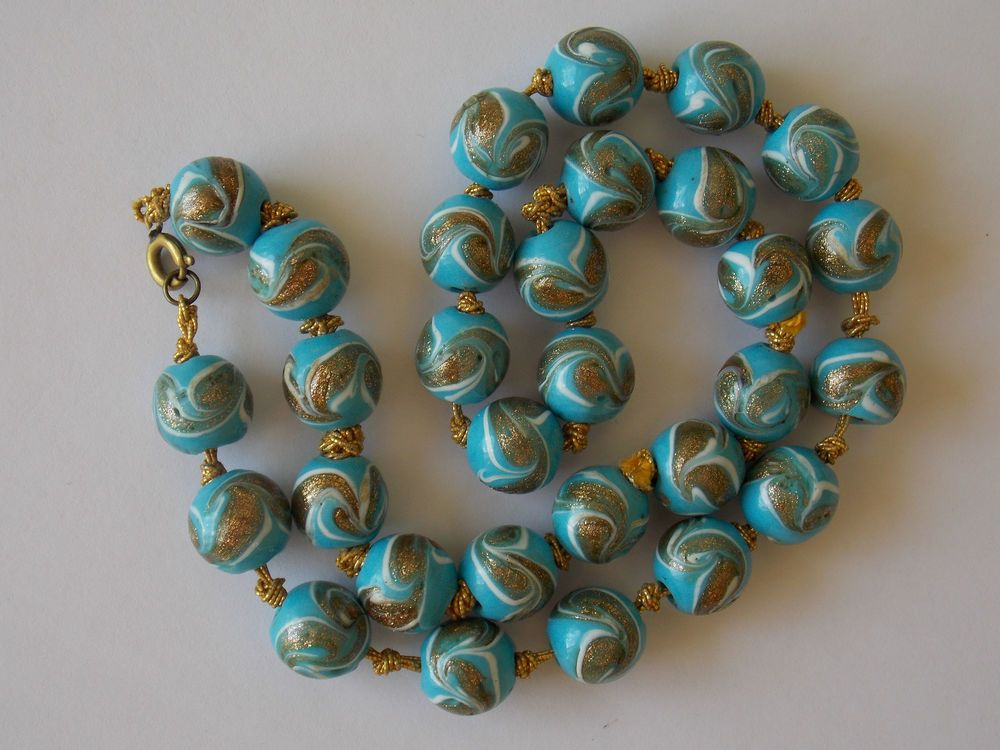 Gorgeous Vintage Murano Glass Bead Necklace Turquoise With Gold White Swirls Gioielli Vetrate