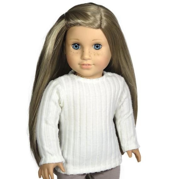 18 Inch Doll Clothes.  Creamy White Ribbed Sweater.  American Made Girl Doll Clothes. #18inchdollsandclothes