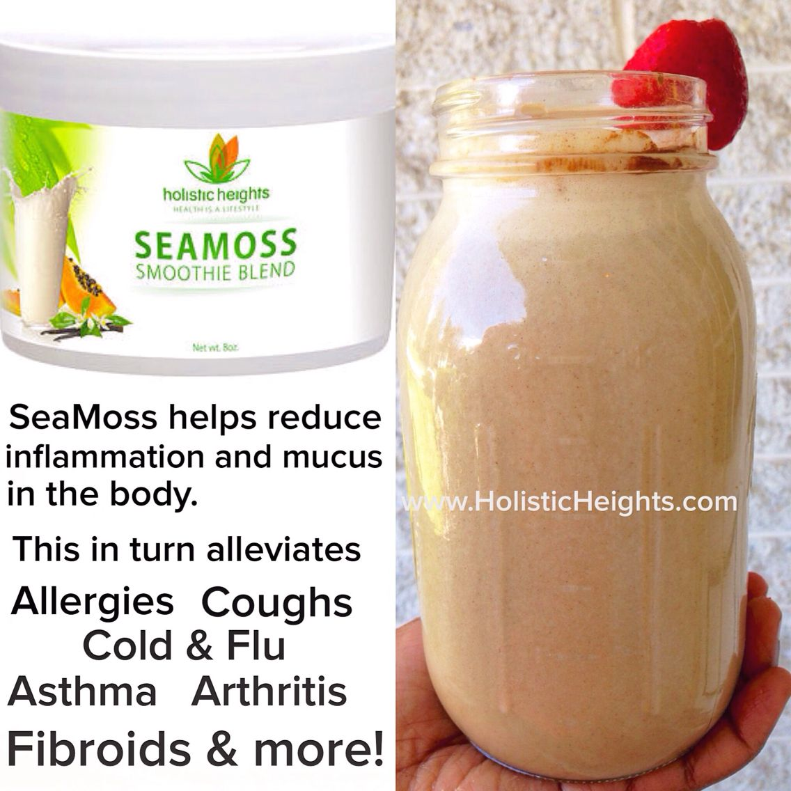 Holistic Heights Seamoss Smoothie Blends Help Reduce Inflammation And Mucus In The Body This In Turn Helps T Sea Moss Blending Smoothies Alkaline Diet Recipes