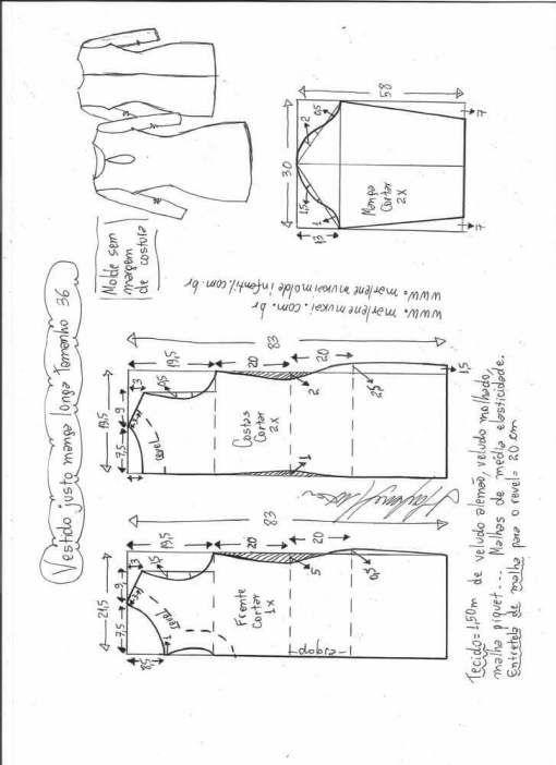Patrón vestido ajustado de manga larga Patrón para hacer un lindo vestido ajustado con manga larga. Tallas desde la 36 hasta la 56.   Talla 36: Talla 38: Talla 40: Talla 42: Talla 44: Talla 46: Talla 48: Talla 50: Talla 52: Talla 54: Talla 56: Fuente:http://www.marlenemukai.com.br/ Patrón vestido midi de manga largaPatrón de …