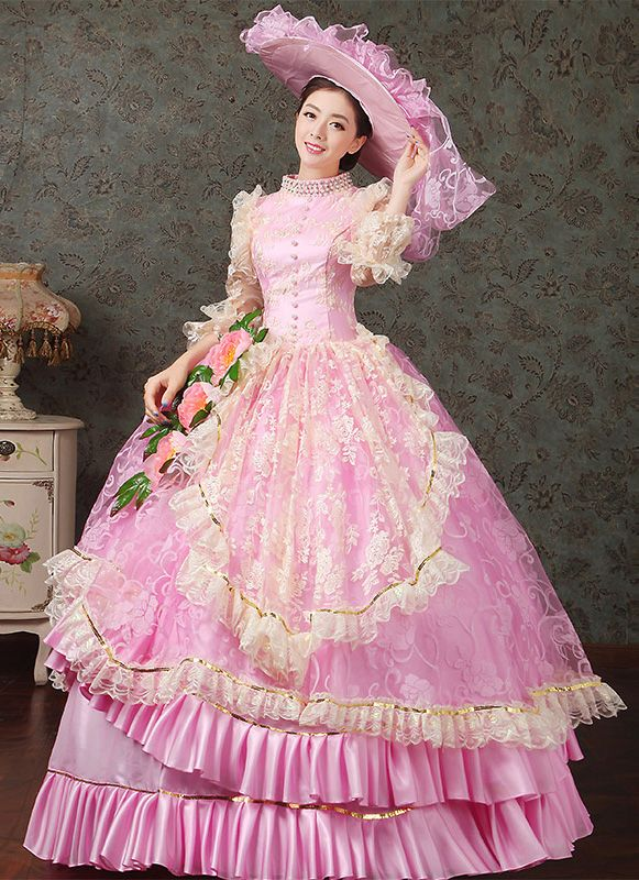 2016 Royal Pink Medival Renaissance Marie Antoinette Ball Gowns ...