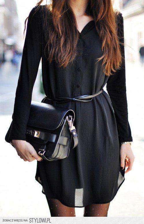 b129b1e5fa vestido camisero negro …