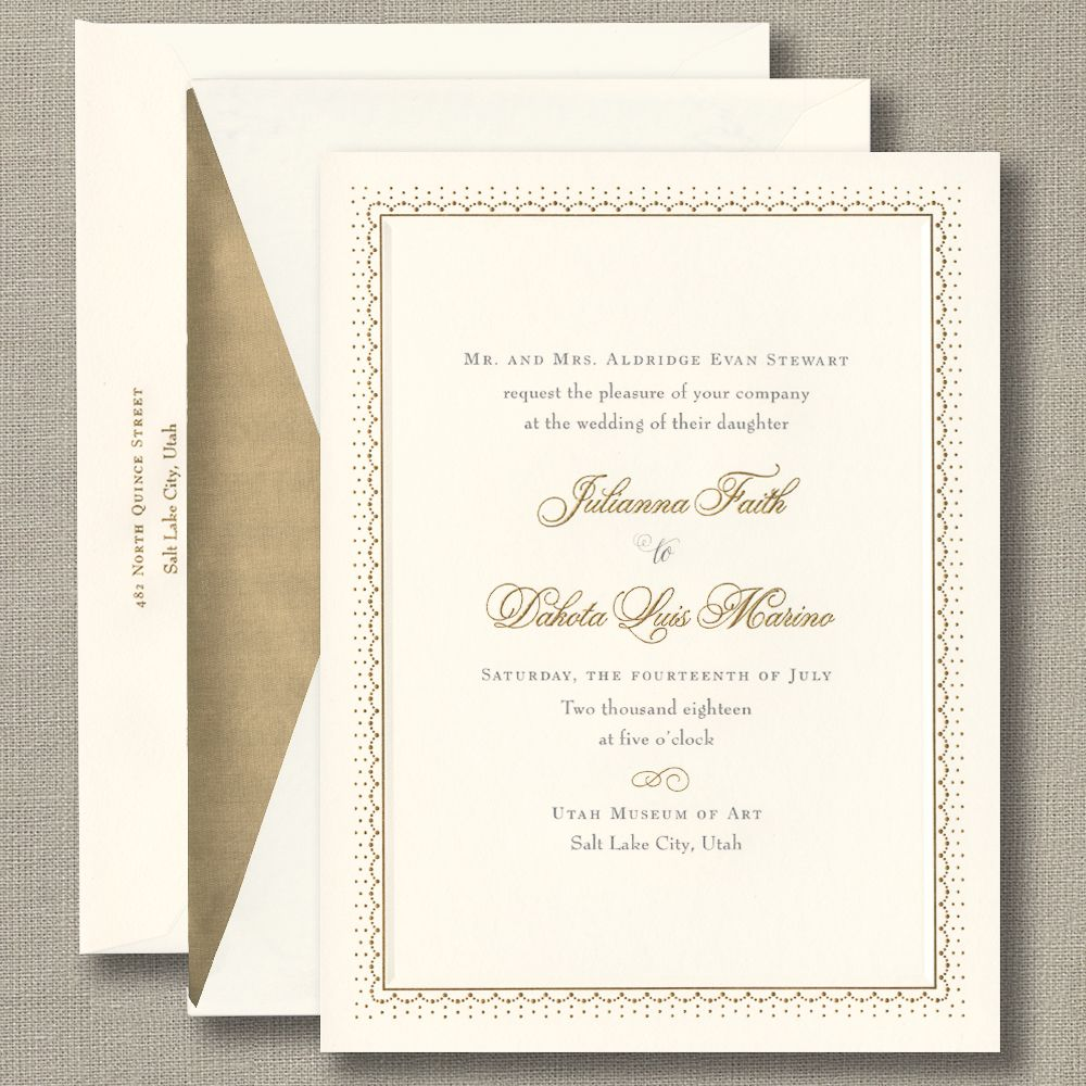 Captivating Bohemian Vintage Foil Pressed Wedding Invitations In