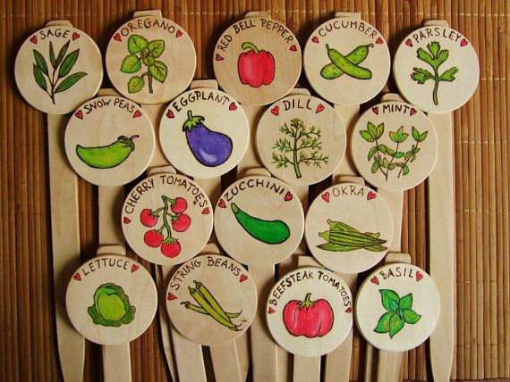 Custom vegetable and herb row markers handmade wooden for Markers for wood crafts